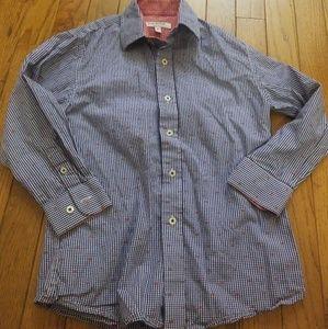 Isaac mizrahi boys blue check dress shirt w red
